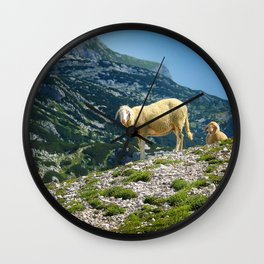 Sheep on the hill Wall Clock