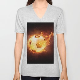 Fire Football Unisex V-Neck