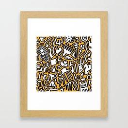 black doodle on orange Framed Art Print