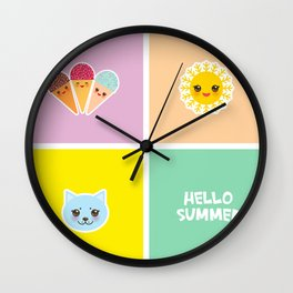 Hello Summer bright tropical card design, ice cream, sun, cat. Kawaii cute face. Wall Clock