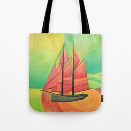 Cubist Abstract Sailing Boat Tote Bag