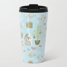 From Bunnies And Christmas-Cute teal X-Mas Pattern Metal Travel Mug