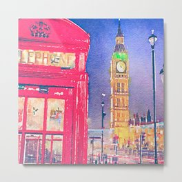 Big Ben and Red Telephone Box in London Watercolor  Metal Print