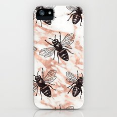 Bees on rose gold marble iPhone SE Slim Case