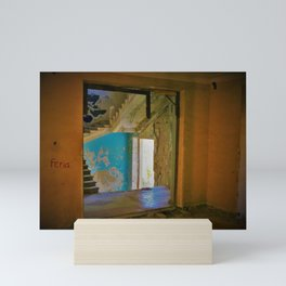 Feria - yellow and blue abandoned hotel with staircase photo Mini Art Print