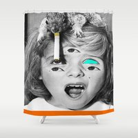 smoking Shower Curtains featuring Smoking Squirrel by Whiteashes