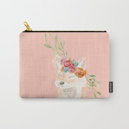 Watercolor fox flower crown peach Carry-All Pouch