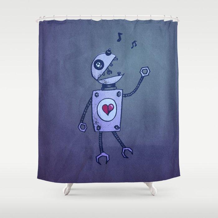 Happy Cartoon Singing Robot Shower Curtain By Borianagiormova