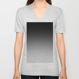 Black to Gray Horizontal Linear Gradient Unisex V-Neck