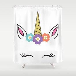 Unicorn Face flowers eyelashes horn ears Shower Curtain