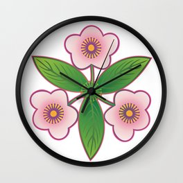 Triple pink Wall Clock