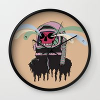 ashton irwin Wall Clocks featuring Dead Space: The Spirits Escape by Terry Irwin