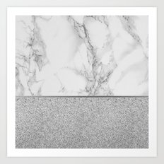 Marble + Glitter #1 Art Print