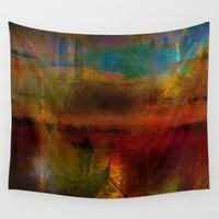 return Wall Tapestries featuring The return of the gondolier by Ganech joe