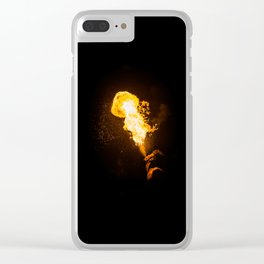 profile image of a fire eater spitting flames into the sky Clear iPhone Case