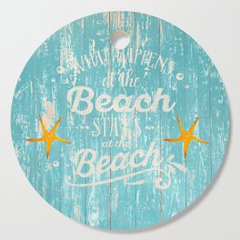 Happy Beach Life- Saying on aqua wood Cutting Board