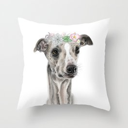 Florence the Whippet Throw Pillow