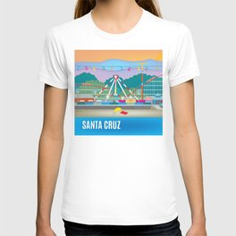 Santa Cruz, California - Skyline Illustration by Loose Petals T-shirt