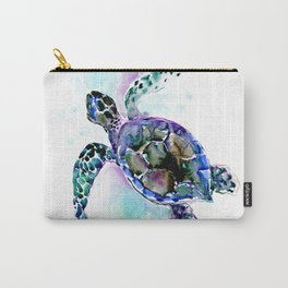 Sea Turtle Underwater Scene Artwork, turquoise blue, gray design beach Carry-All Pouch
