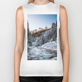 Autumn and winter river, forest and mountains Biker Tank