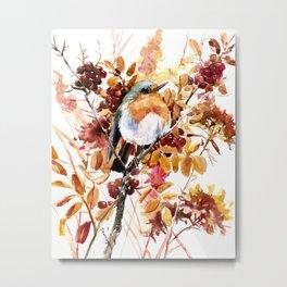Robin Bird and Colors of Fall Metal Print