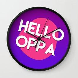 Hello oppa cute graphic Wall Clock