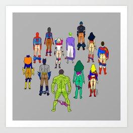 Superhero Butts - Power Couple on Grey Art Print