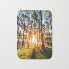 sunset behind trees in forest landscape - nature photography Bath Mat