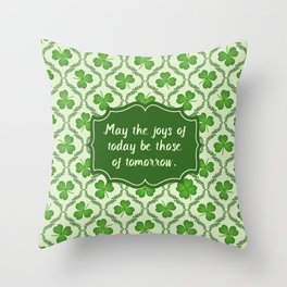 Irish Blessing Shamrocks Pattern Throw Pillow