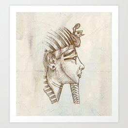 gold tutankhamon mask hand drawn Art Print