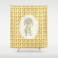 rabbit Shower Curtains featuring Rabbit by Jane Mathieu