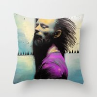 "radiohead Throw Pillows featuring Thom Yorke ""Radiohead"" by Zmudartist"