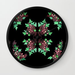 Red Coralline Flowers Wall Clock