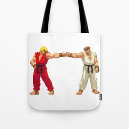 Ryu Hoshi and Ken Masters Pixel Art Tote Bag