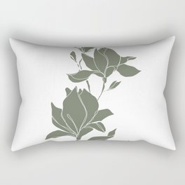 Botanical illustration line drawing - Magnolia Green Rectangular Pillow
