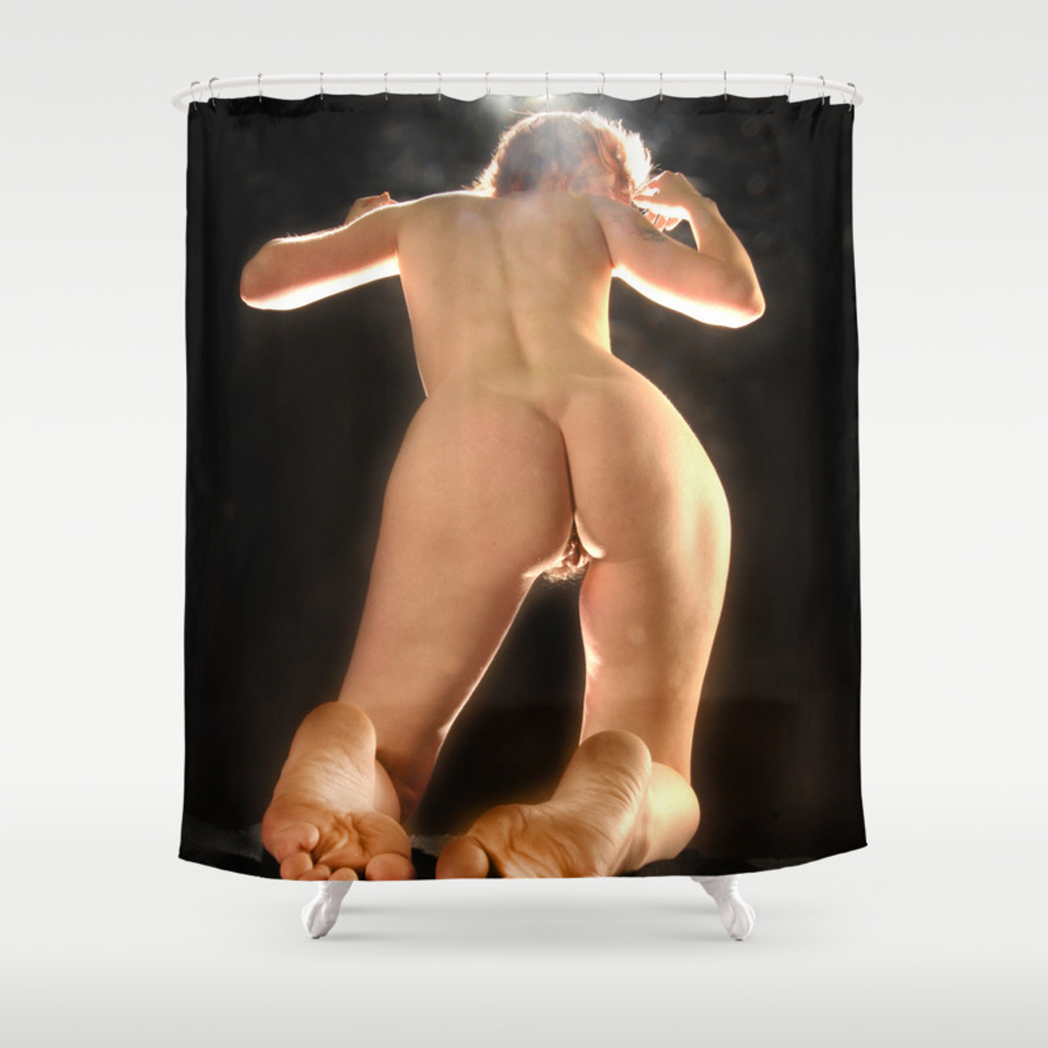 Ams Nude 5936-ams art nude model from below rear view toes feet bum back shower  curtain