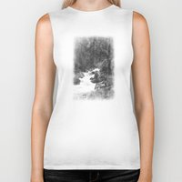yosemite Biker Tanks featuring Whiteout Yosemite-2 by Deepti Munshaw