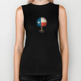 Vintage Tree of Life with Flag of Texas Biker Tank