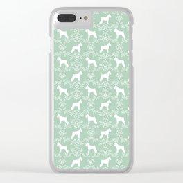 Schnauzer floral silhouette pattern schnauzers minimal mint dog art Clear iPhone Case