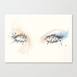 snowflakes that stay on my nose and eyelashes Canvas Print