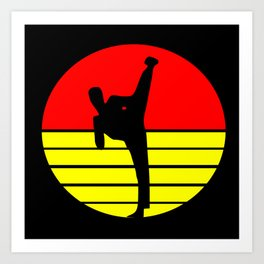 Karate kick retro sport design Art Print