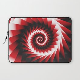 Abstract Spiral Sea Shell 2 - Red, Black and White Laptop Sleeve