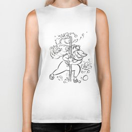 Ninja Master of Water - ink Biker Tank