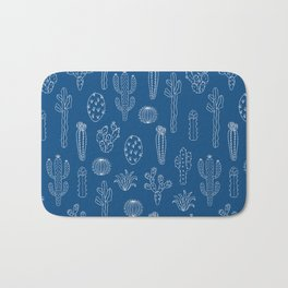 Cactus Silhouette Classic Blue Bath Mat