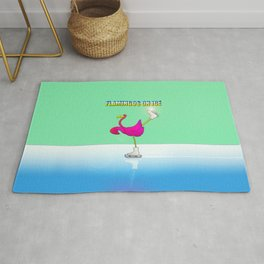 Flamingos on ice Rug