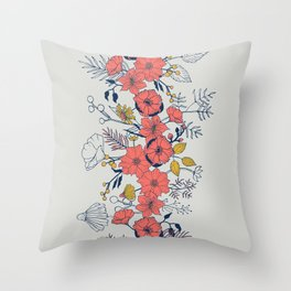 Coral Blooms verticals Throw Pillow
