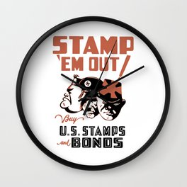 Stamp 'Em Out! Buy U.S. Stamps and Bonds Wall Clock