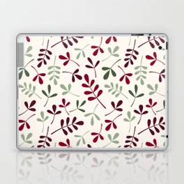 Assorted Leaf Silhouettes Ptn Reds Greens Cream Laptop & iPad Skin