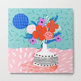 Oh Ay - memphis throwback still life retro florals modern minimal collage patterns Metal Print