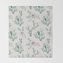 Pretty Cactus Rose Pattern Pale Pink + Green Throw Blanket